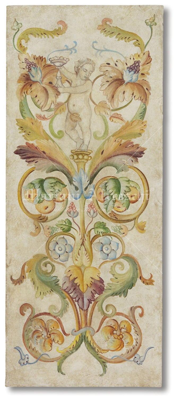 Grottesca con putto mariani affreschi shop for Fregi decorativi